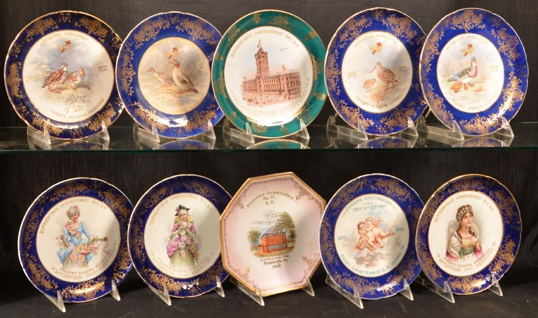 Ten Antique Masonic Transfer China Plates.