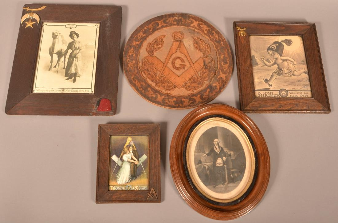 Five Antique/Vintage Masonic Framed Items.