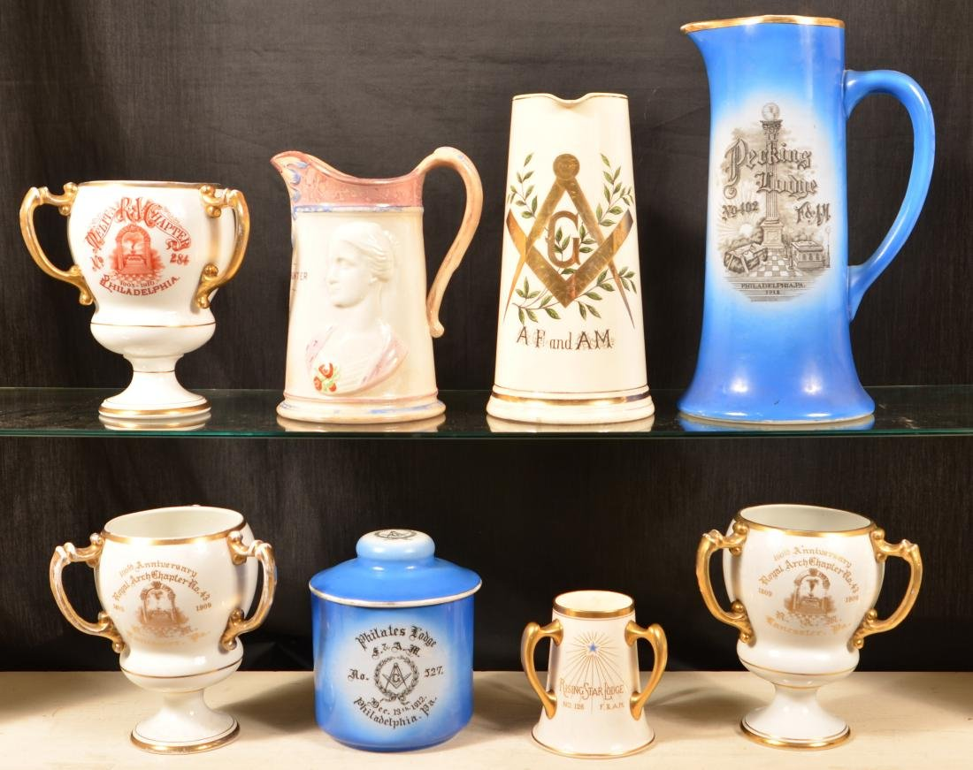 Eight Pieces of Antique/Vintage Masonic China.