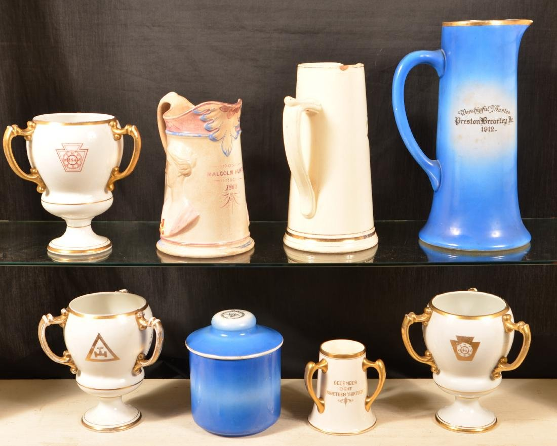 Eight Pieces of Antique/Vintage Masonic China. - 2
