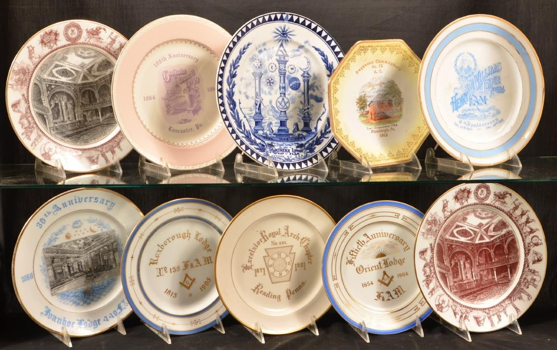 Ten Antique Masonic Transfer China Plates.
