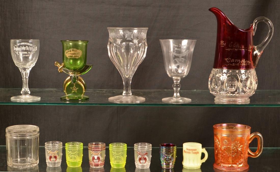 Lot of Antique /Vintage Masonic Glassware.