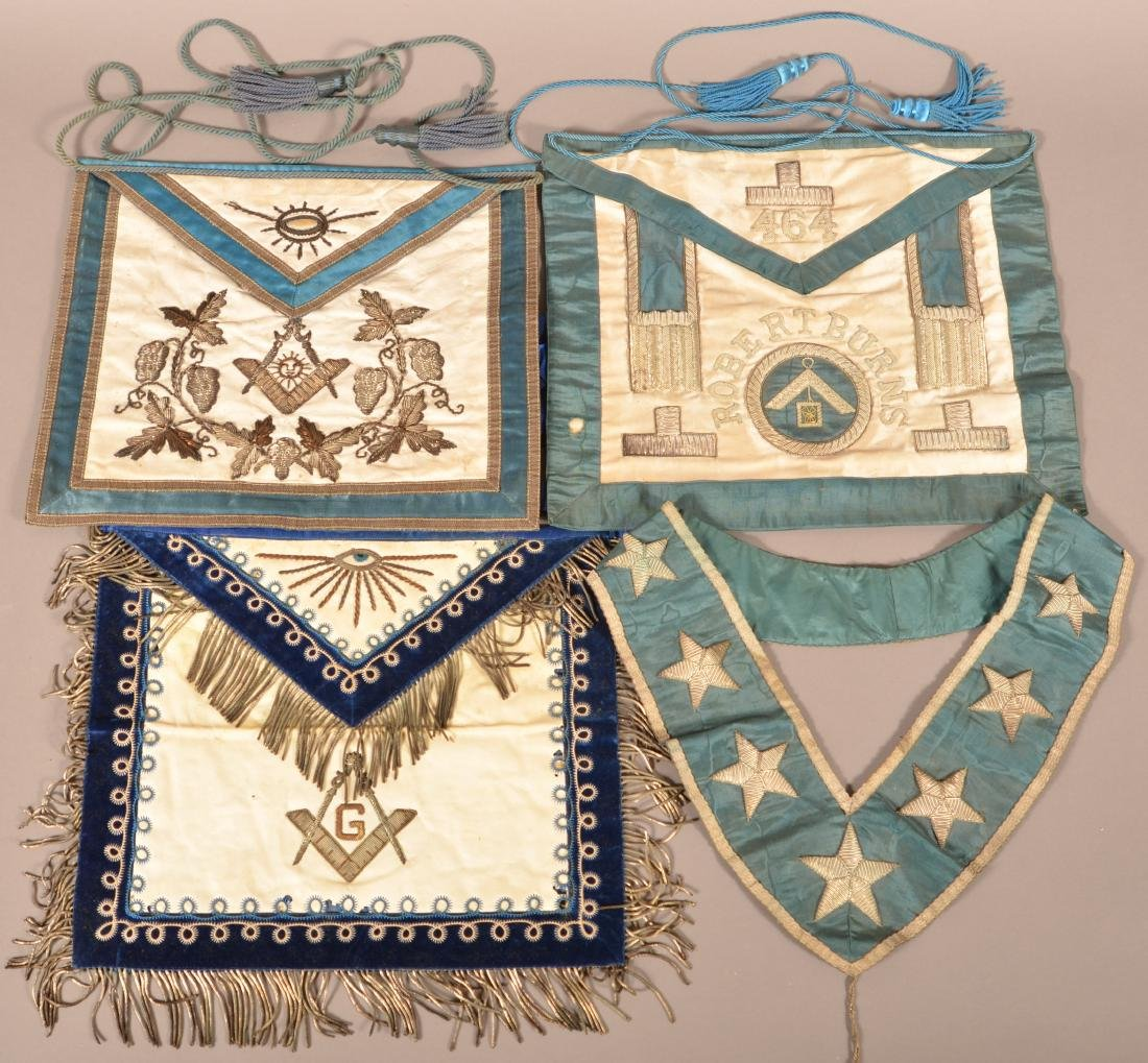 Three Masonic Gilt Thread Needlework  Aprons.