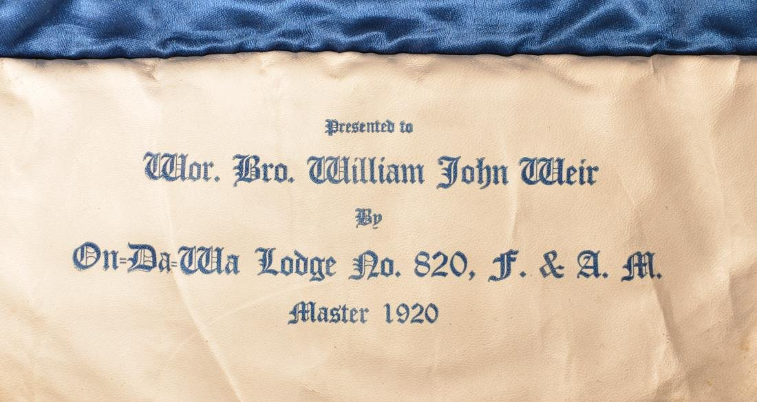 Three Masonic Gilt Thread Needlework  Aprons. - 2