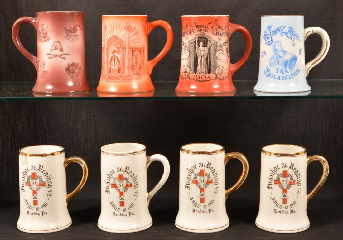 Eight Masonic Transfer China Mugs.