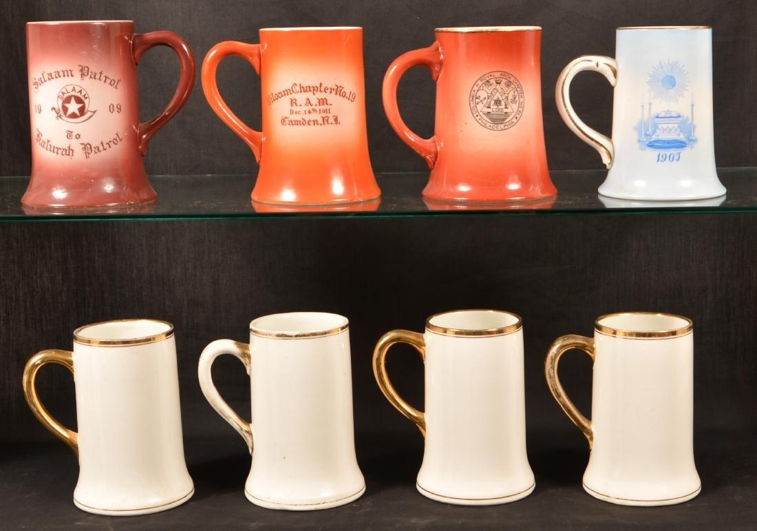 Eight Masonic Transfer China Mugs. - 2