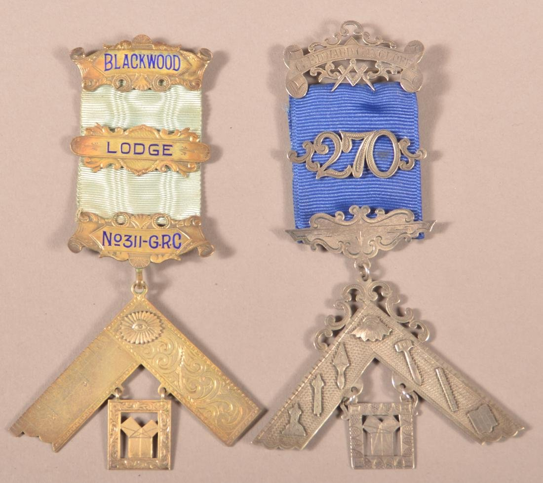 2 - Sterling Silver Masonic Presentation Medals,