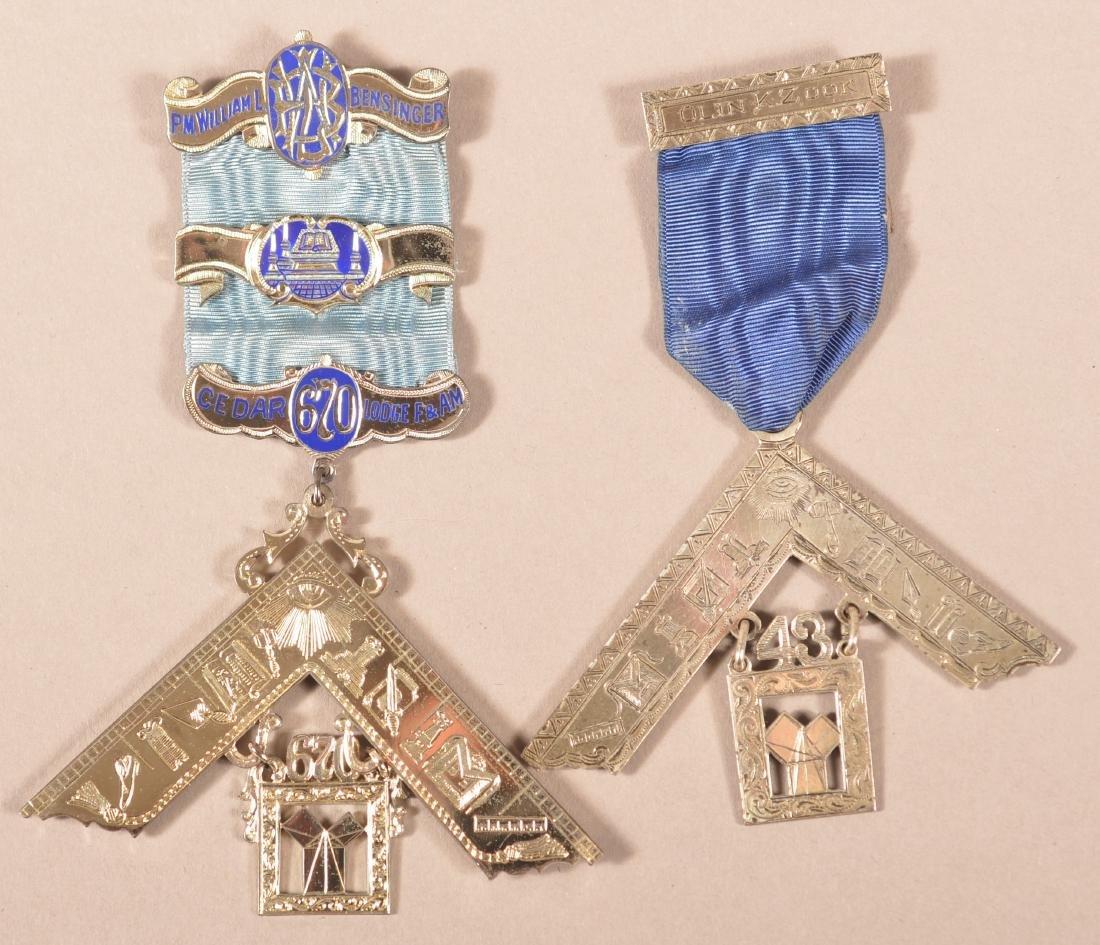 2 - Sterling Silver Masonic Presentation Medals