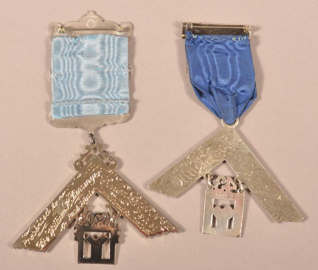 2 - Sterling Silver Masonic Presentation Medals - 4