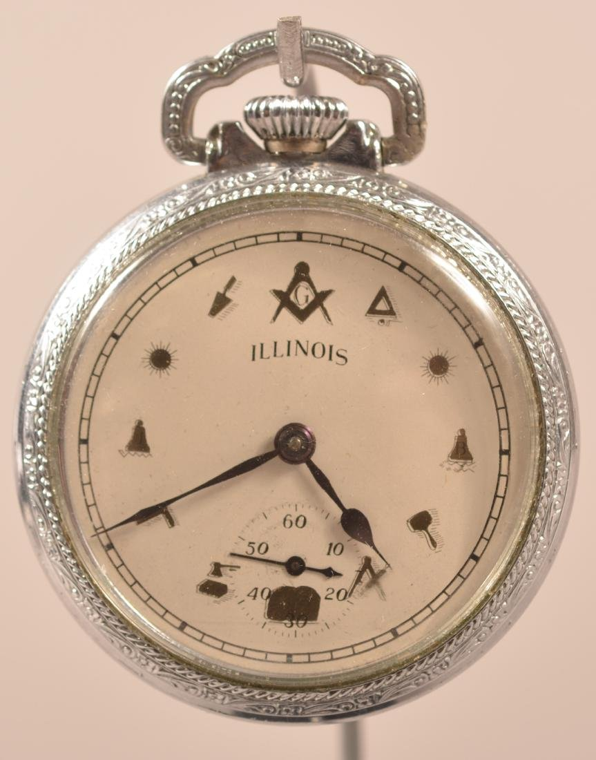 Illinois Masonic Dial Pocket Watch