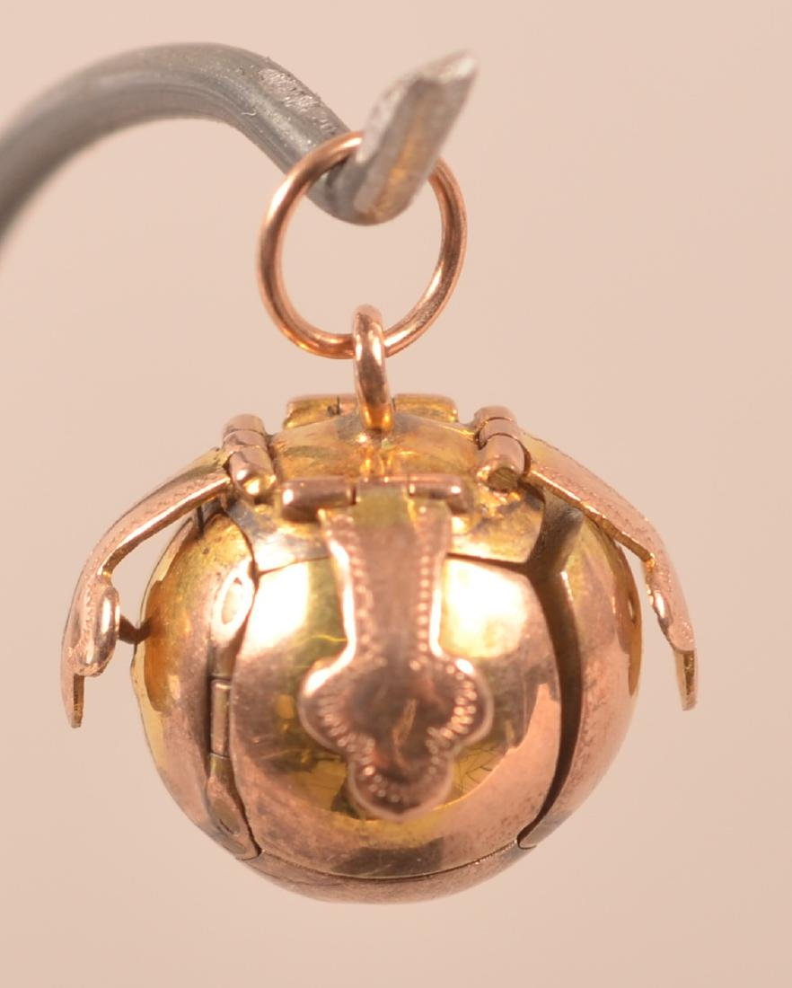 9k Masonic Ball Folding Secret Watch Fob - 2