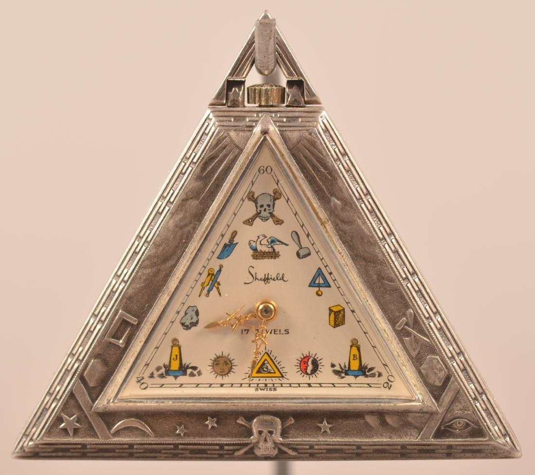 Unusual Triangular Masonic Pocket Watch