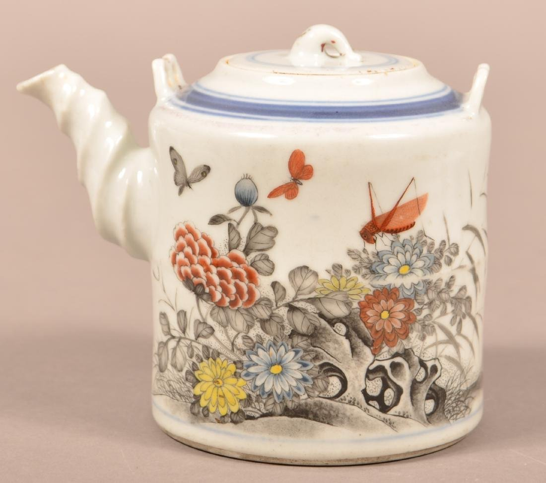 19th Century Painted and Enamel Teapot.
