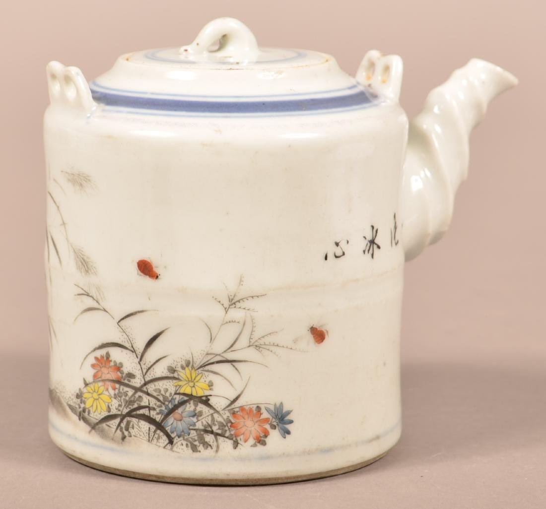 19th Century Painted and Enamel Teapot. - 2
