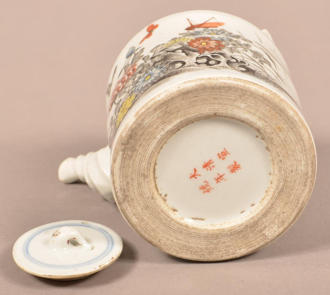 19th Century Painted and Enamel Teapot. - 3