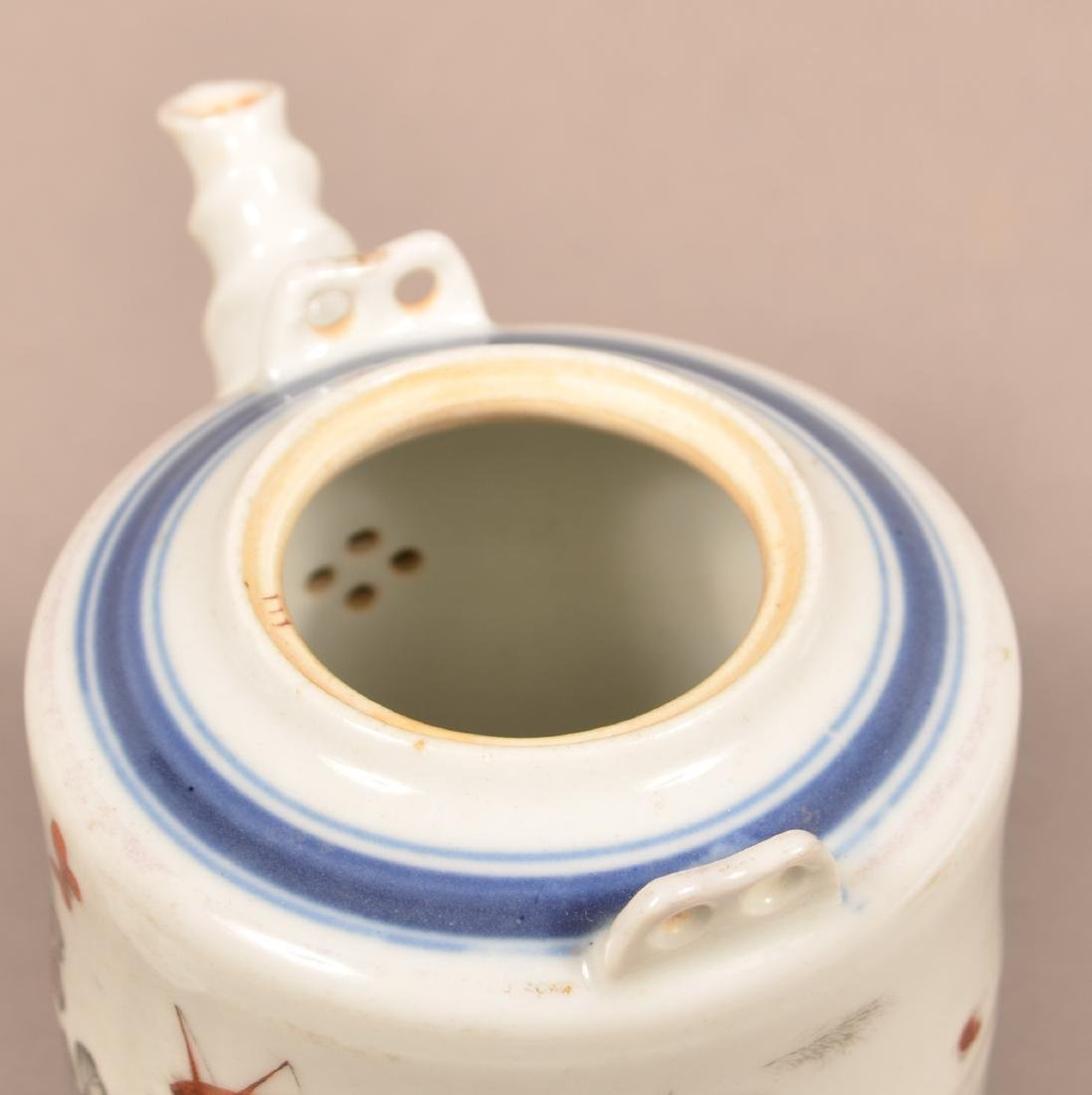 19th Century Painted and Enamel Teapot. - 4