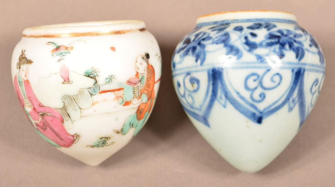 2 Late 19th C Chinese Porcelain Cone Form Bird Feeders.