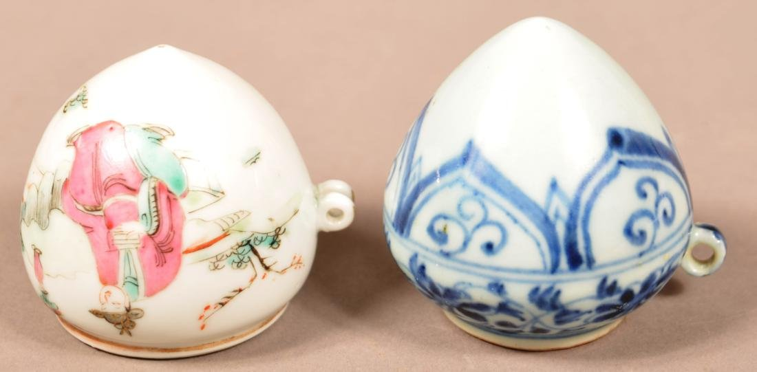 2 Late 19th C Chinese Porcelain Cone Form Bird Feeders. - 2