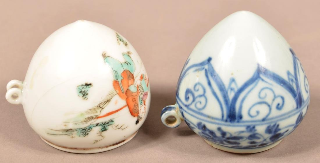 2 Late 19th C Chinese Porcelain Cone Form Bird Feeders. - 3