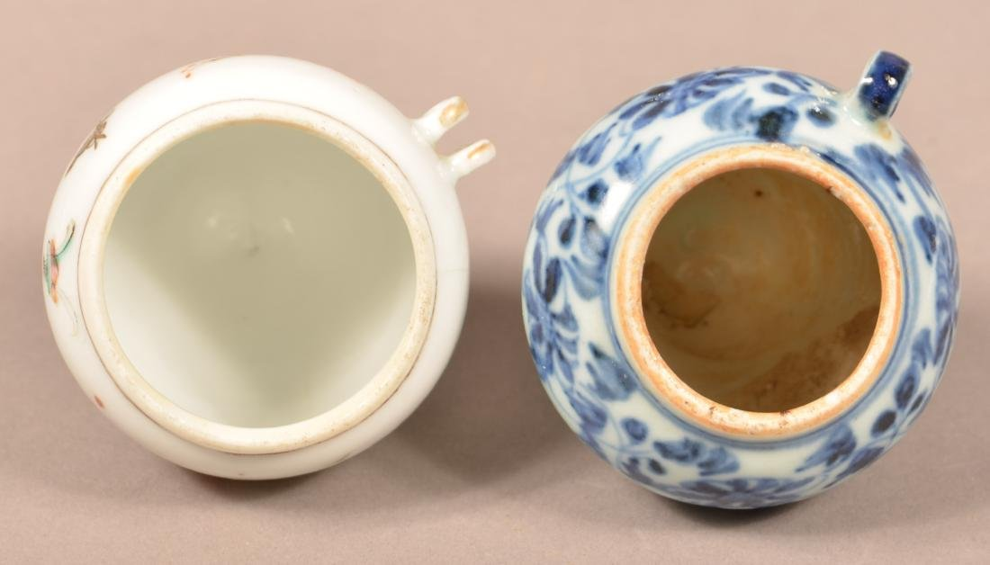 2 Late 19th C Chinese Porcelain Cone Form Bird Feeders. - 4
