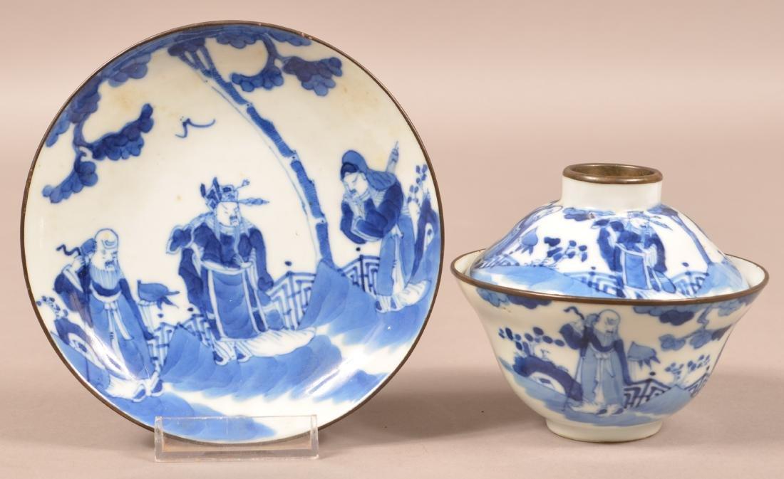19th C. Blue & White Chinese Porcelain Tea Cup Set.