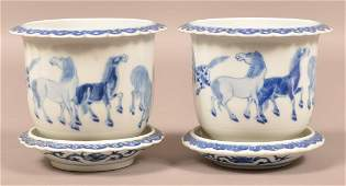 Fine Pair of 19th C. Blue and White Chinese Planters.