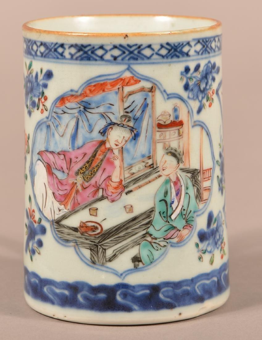 18th Cent. Export Porcelain Famille Rose Mug.