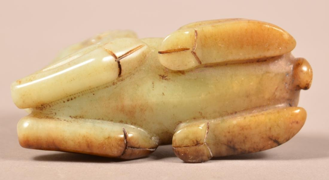 19th Century Finely Carved Russet Jade Ram. - 3