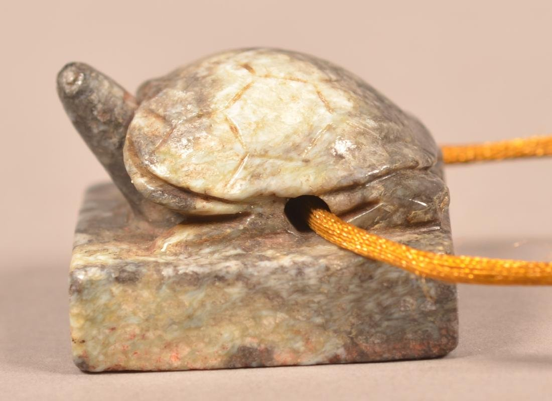 Finley Carved Chinese Jade Seal in Turtle Form Yuan pd. - 2