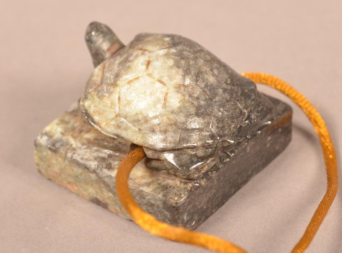 Finley Carved Chinese Jade Seal in Turtle Form Yuan pd. - 3