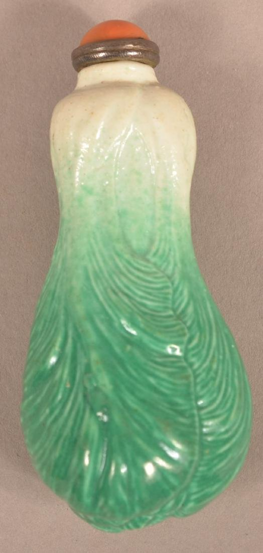 """19th Century Chinese """"Bok Choy"""" Porcelain Snuff Bottle."""