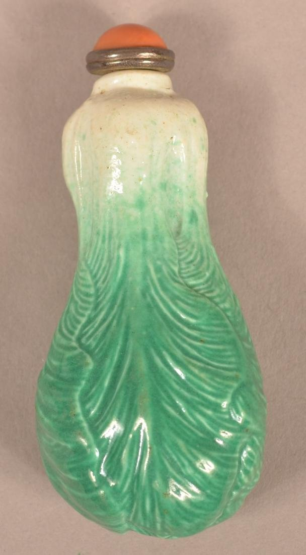 """19th Century Chinese """"Bok Choy"""" Porcelain Snuff Bottle. - 2"""