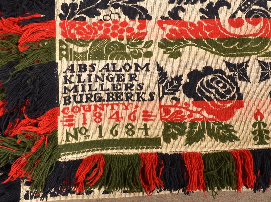 1846 Berks County, PA Jacquard Coverlet. - 2