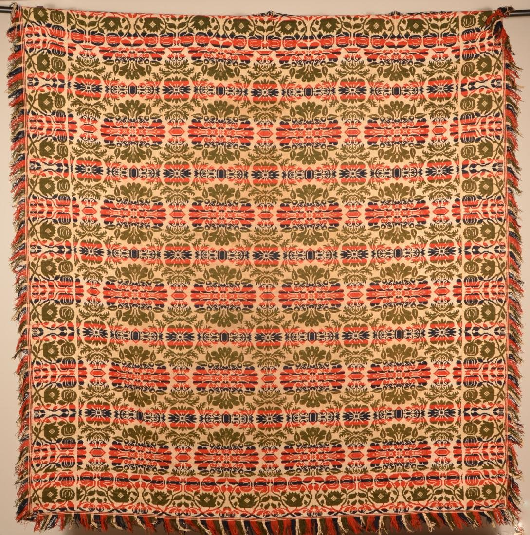 Mid 19th Century PA Jacquard Coverlet.