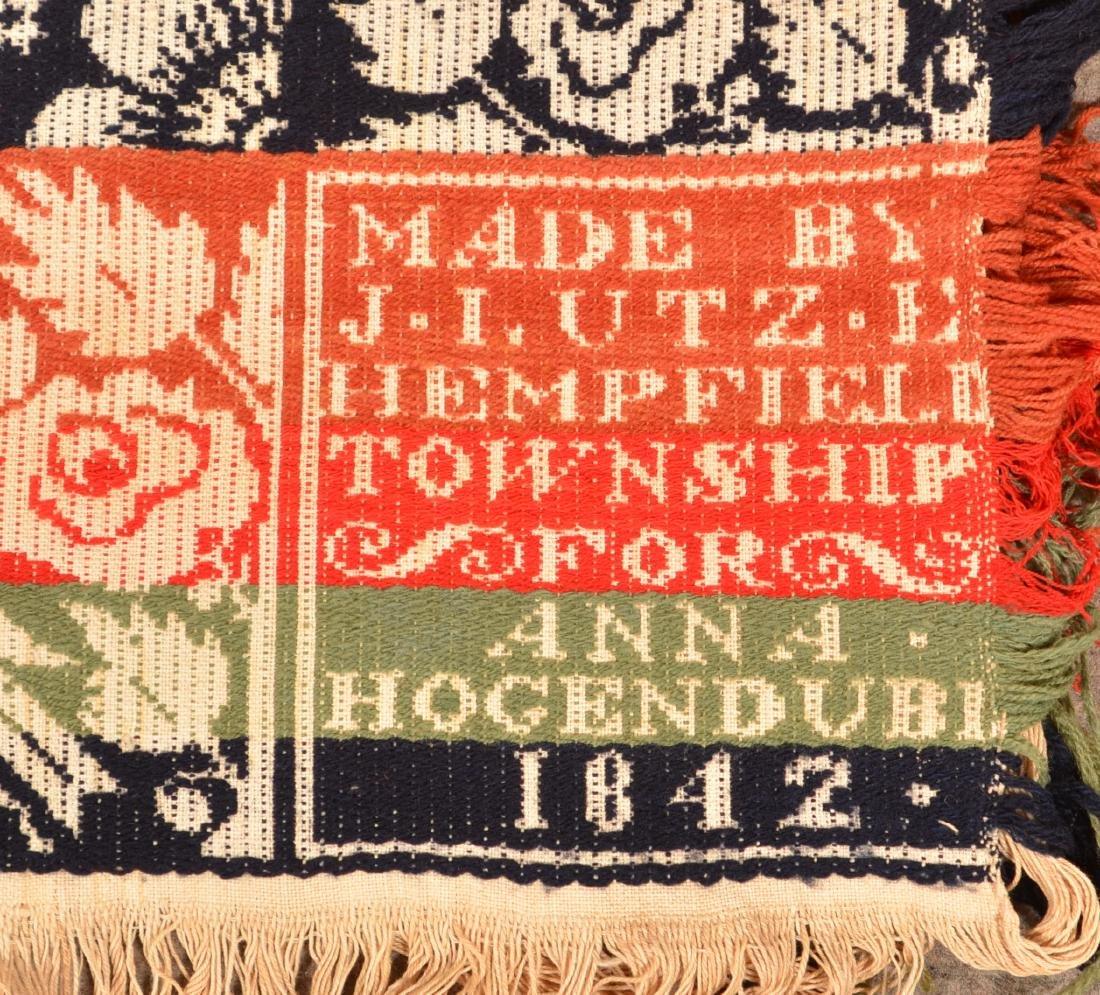 1842 Lancaster County, PA Jacquard Coverlet. - 2