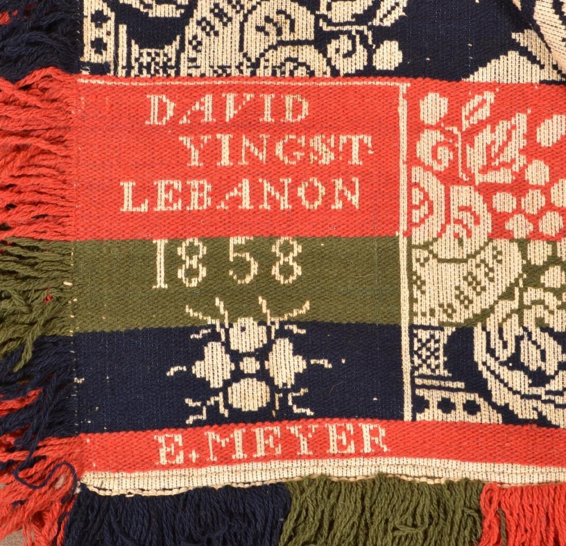 1858 Lebanon County, PA Jacquard Coverlet. - 2