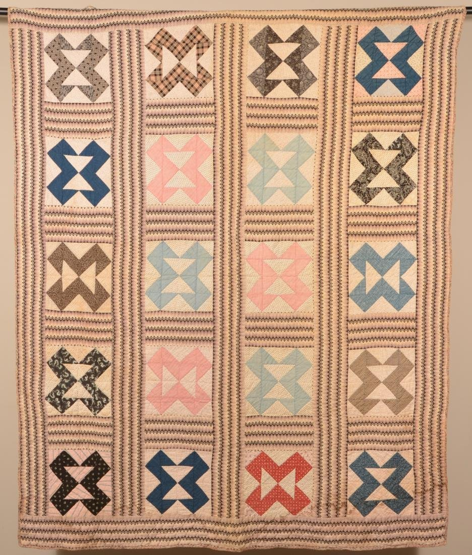 Hour Glass Pattern Patchwork Quilt.
