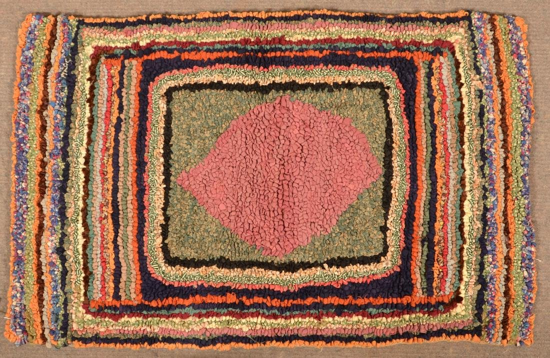 Antique Diamond in Square Pattern Hooked Rug.