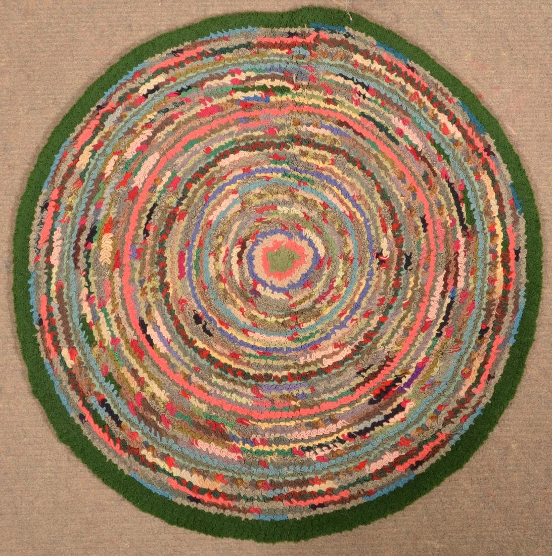 Antique/Vintage Circular Hooked Rug.