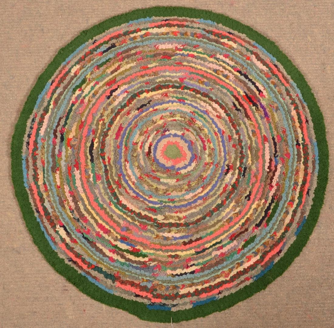 Antique/Vintage Circular Hooked Rug. - 2