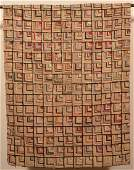 AntiqueVintage Geometric Pattern Hooked Rug