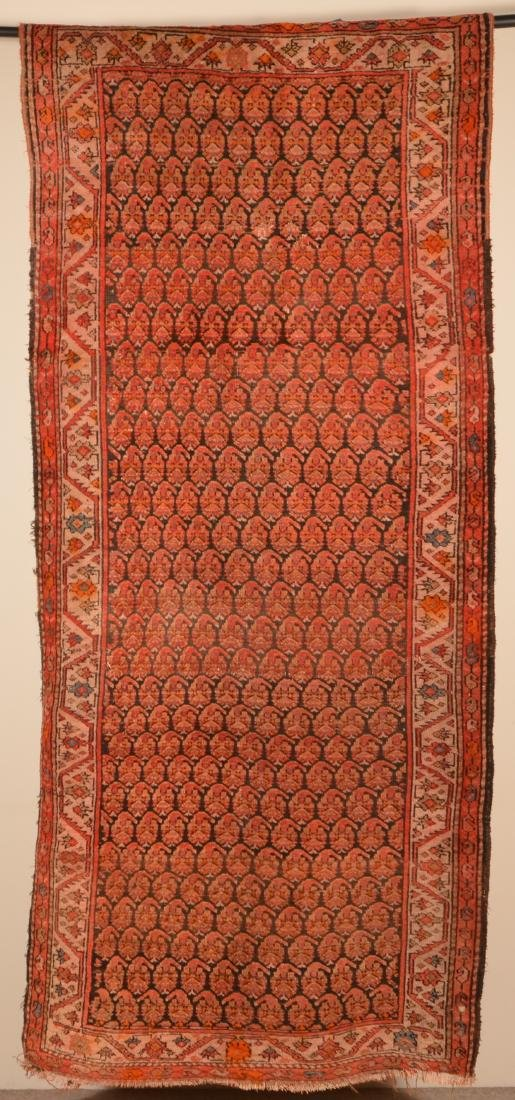 Antique Geometric Pattern Oriental Area Rug.