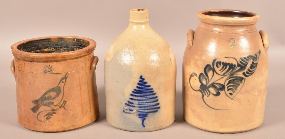 Three Pieces of Cobalt Slip Decorated Stoneware.