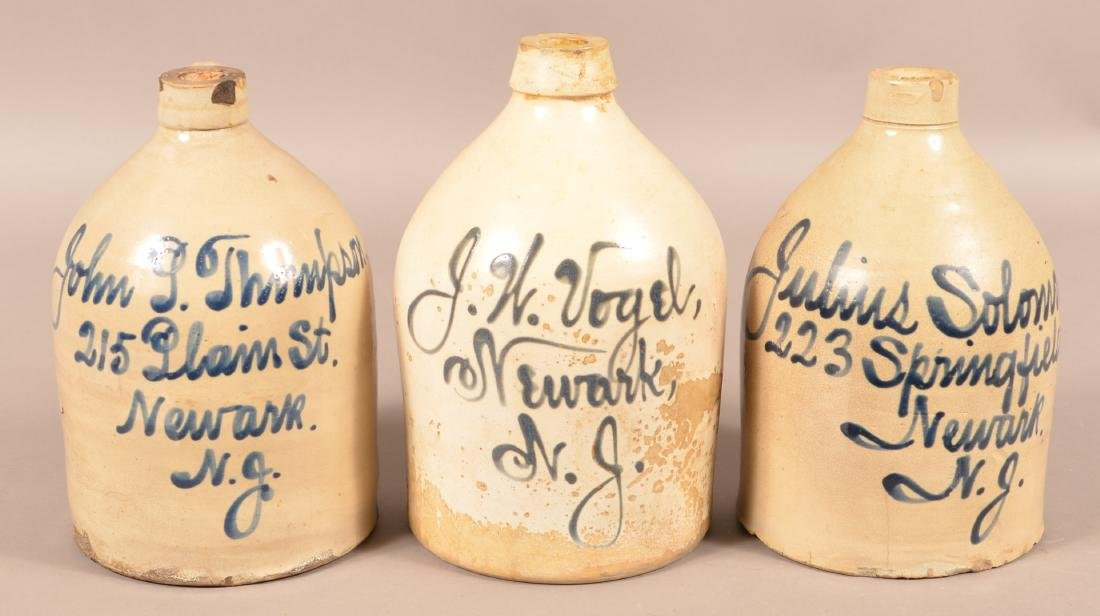 Three Newark, NJ Cobalt Script Advertising Jugs.