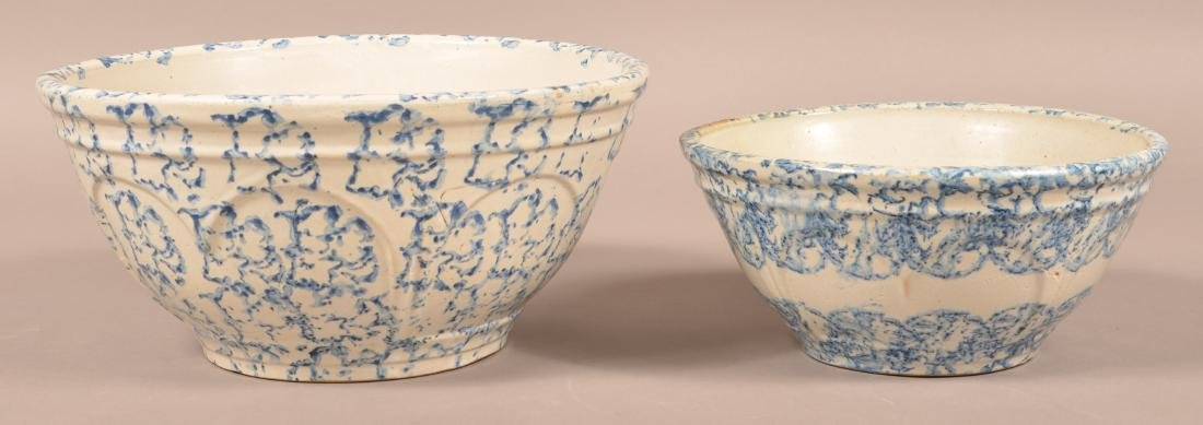Two Blue Sponge Dec. Stoneware Mixing Bowls.