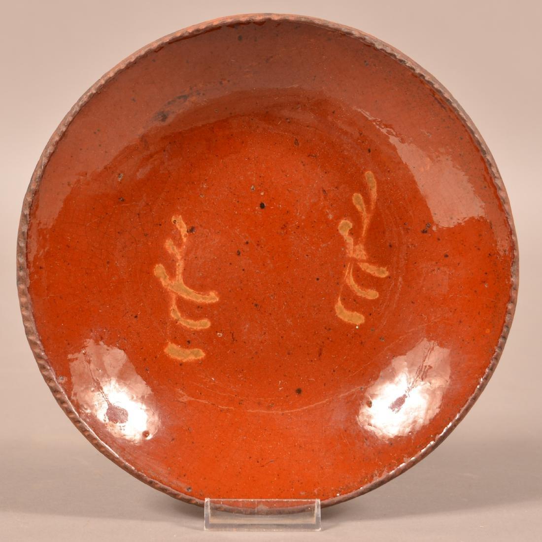 Redware Yellow Slip Decorated Plate.