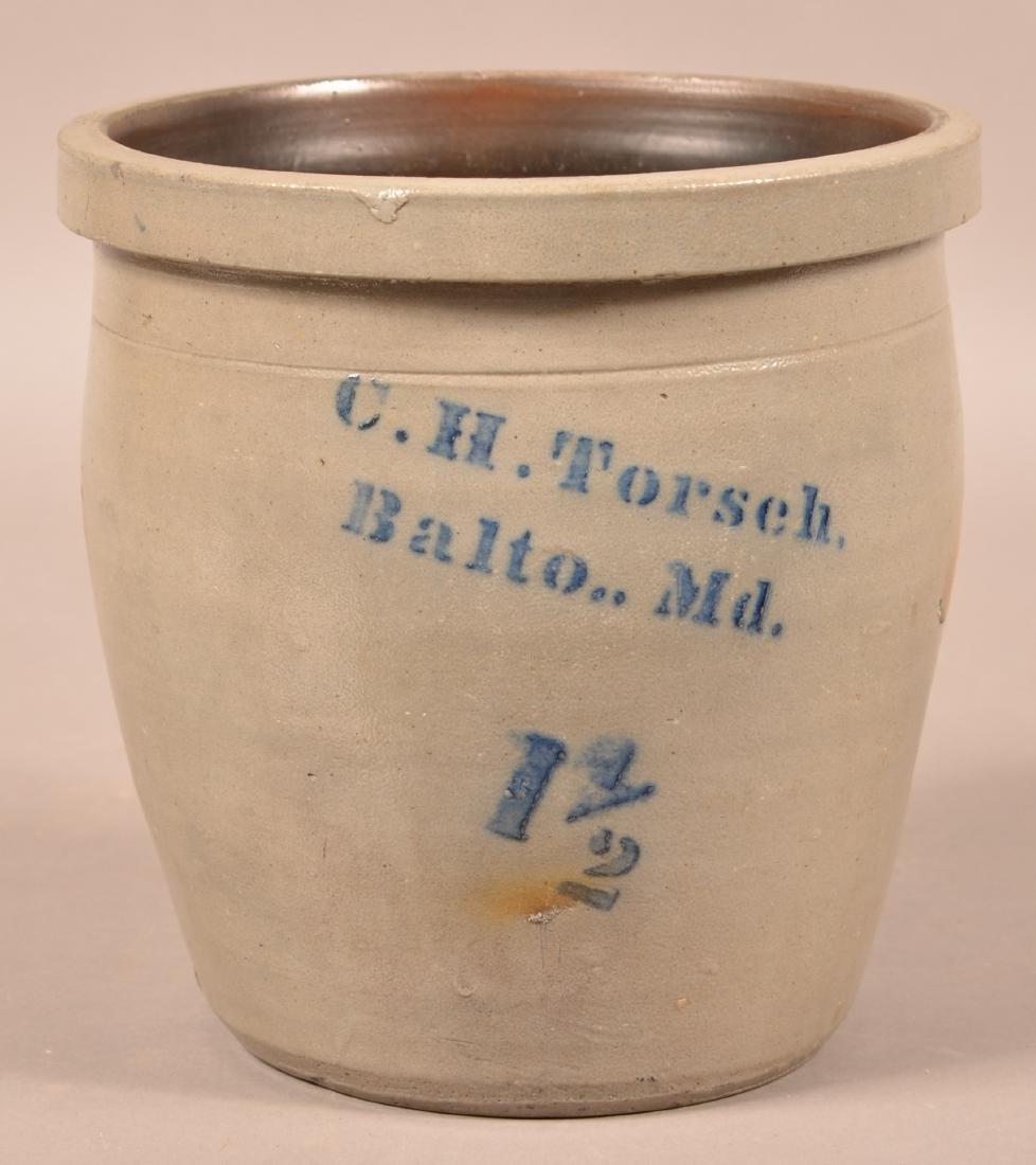 C.H. Torsch Baltimore, MD Stoneware Crock.