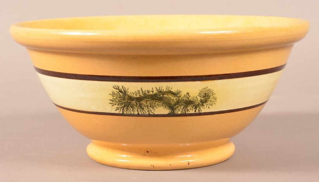 Yellowware Mixing Bowl w/ Seaweed Decoration. - 3