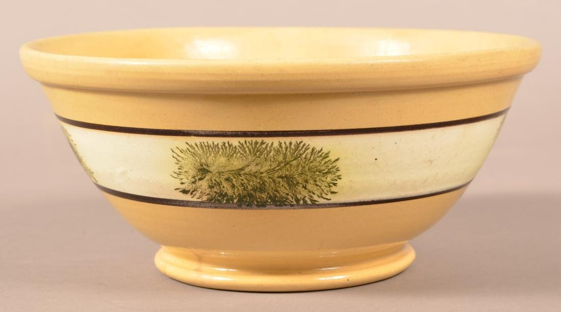 Yellowware Mixing Bowl w/ Seaweed Decoration.