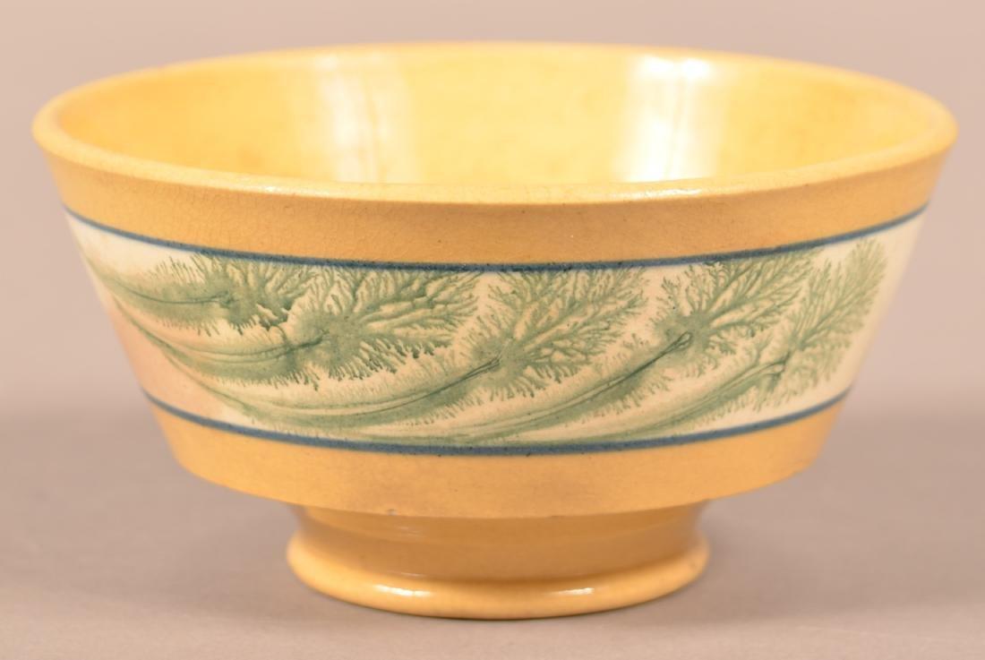 Small Yellowware Bowl w/ Seaweed Decoration.